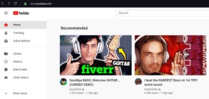 Hardest decision ever (question mark?): A www.youtube.com  OYouTube  Search  Home  Recommended  Trending  HELP  Subscriptions  Library  GUITAR  History  fiverr  Watch later  Liked videos  Goodbye BASS, Welcome GUITAR..  (CURSED VIDEO)  I beat the HARDEST Boss on 1st TRY!  world record  Davie504 O  1.2M views • 1 day ago  PewDiePie o  3.5M views • 1 day ago  Show more  ப Hardest decision ever (question mark?)