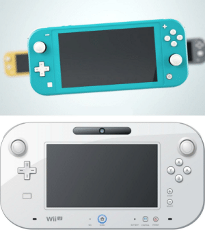 Control, Game, and Home: +  A  Y  START  SELECT  TV  Wiiu  POWER  CONTROL  BATTERY  HOME  MIC We just gonna ignore how the Switch Light is just the WiiU game pad?