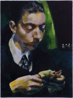 A young Al Capone enjoying a meal in his Rolls Royce (painting) [1930]: A young Al Capone enjoying a meal in his Rolls Royce (painting) [1930]