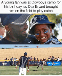 Major Respect for 88! @DezBryant ThrowUpTheX CowboysNation ✭: A young fan was at Cowboys camp for  his birthday, so Dez Bryant brought  him on the field to play catch.  @allthingscowboys  ite Major Respect for 88! @DezBryant ThrowUpTheX CowboysNation ✭
