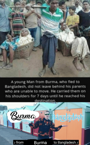 Burma strength: A young Man from Burma, who fled to  Bangladesh, did not leave behind his parents  who are unable to move. He carried them on  his shoulders for 7 days until he reached his  destination.  Burma angladash  > from  to Bangladesh  Burma Burma strength