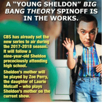 """A """"YOUNG SHELDON"""" BIG  BANG THEORY SPIN OFF IS  IN THE WORKS  CBS has already set the  new series to air during  the 2017-2018 season.  It will follow a  nine-year-old Sheldon  precociously attending  high school.  Sheldon's mother will  be played by Zoe Perry,  the daughter of Laurie  Metcalf who plays  Sheldon's mother on the  current show. Not a meme but JESUS H CHRIST- Albanian"""