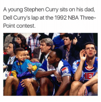 Dad, Dell, and Memes: A young Stephen Curry sits on his dad,  Dell Curry's lap at the 1992 NBA Three-  Point contest. Double tap if this is iconic 🙃