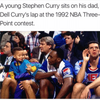 Dad, Dell, and Nba: A young Stephen Curry sits on his dad,  Dell Curry's lap at the 1992 NBA Three-  Point contest. Young Stephen 😱
