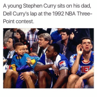 This is so sick! Tag 3 friends 👇🏼: A young Stephen Curry sits on his dad,  Dell Curry's lap at the 1992 NBA Three-  Point contest. This is so sick! Tag 3 friends 👇🏼