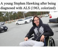 """Stephen, Stephen Hawking, and Tumblr: A young Stephen Hawking after being  diagnosed with ALS (1963, colorized) <p><a href=""""https://fakehistory.tumblr.com/post/171870874709/may-he-rest-in-peace-1963"""" class=""""tumblr_blog"""">fakehistory</a>:</p>  <blockquote><p>May he rest in peace (1963)</p></blockquote>"""