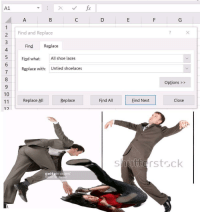 """<p>Find what: memes Replace with: excel memes via /r/dank_meme <a href=""""https://ift.tt/2GH4UiO"""">https://ift.tt/2GH4UiO</a></p>: A1  2Find and Replace  Find Replace  Find what: All shoe laces  Replace with: Untied shoelaces  7  Options >>  10  Replace All  Replace  Find All  Eind Next  Close  1つ  shutterstsck  gettyimages <p>Find what: memes Replace with: excel memes via /r/dank_meme <a href=""""https://ift.tt/2GH4UiO"""">https://ift.tt/2GH4UiO</a></p>"""