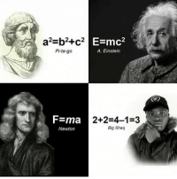 Funny, Instagram, and Meme: a2-b2+c2  Pi-ta-go  E=mc2  A. Einstein  =ma  Newton  2+2-4-1-3  Big Shaq @pubity was voted 'best meme account on instagram' 😂