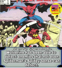 Facts, Memes, and Wolverine: A325 FEB  CTS  #fact 747 T@facts ofcornic  Spiderman's Spidey sense can  detect marvelcomics marvelentertainment marvelcinematicuniverse marvelstudios comics factsofcomic facts factsofcomics like4like commentforcomment spiderman spidermanhomecoming marvel wolverine logan peterparker