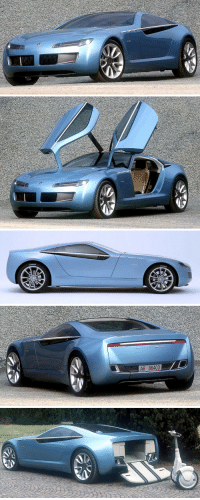 carsthatnevermadeitetc:Bertone Birusa Concept, 2003. A prototype based on the BMW Z8, the glass roof and rear window could slide back under the rear deck. The trunk lid drops to reveal a Segway HT, the Segway working like the tender of a boat, allowing passengers to complete their journey to places inaccessible to the car. Because walking is so last century: A6 86403 carsthatnevermadeitetc:Bertone Birusa Concept, 2003. A prototype based on the BMW Z8, the glass roof and rear window could slide back under the rear deck. The trunk lid drops to reveal a Segway HT, the Segway working like the tender of a boat, allowing passengers to complete their journey to places inaccessible to the car. Because walking is so last century