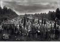 Gasmasks for everyone!  The Leningrad Pioneers doing a defense drill in 1937: a61s  cres Gasmasks for everyone!  The Leningrad Pioneers doing a defense drill in 1937