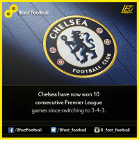 Did you know that...  Join our backup page 8Football: A8fact Football  VSEA  FOOTBAL  Chelsea have now won 10  consecutive Premier League  games since switching to 3-4-3.  OO  8fact football 8 fact football Did you know that...  Join our backup page 8Football