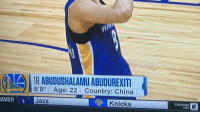 "New York Knicks, Sports, and China: (AA) 18 ABUDUSHALAMU ABUDUREXITI  6'8"" Age: 22 Country: China  Jazz  Knicks  STREAMING  LIVE The Warriors have a guy on their summer league team whose name looks like someone sat on a keyboard https://t.co/M9oPtK7rp6"
