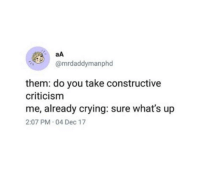 Crying, Criticism, and MeIRL: aA  @mrdaddymanphd  them: do you take constructive  criticism  me, already crying: sure what's up  2:07 PM 04 Dec 17 meirl