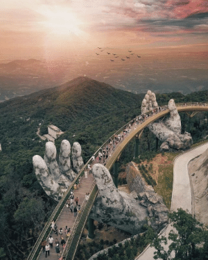 Reddit, Tumblr, and Blog: aa sixpenceee:  Giant hands lift up Vietnam's Golden Bridge. (Source)