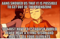 Be Like, Friendzone, and Aang: AANG SHOWED US THAT IT IS POSSIBLE  TO GET OUT OF THE FRIENDZONE  VOUJUST HAVE TO ESTABLISH WORLD  PEACE HAVE A FLVING BISON AND  MASTERALL FOUR ELEMENTS Dont be like AANG know your worth