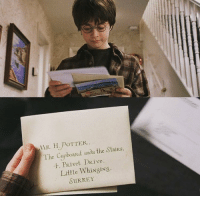 Harry receives his first Hogwarts letter on this day in 1991.: AAR H. POTTER.  itaiRS  The Cupboard unde the DR ive  4, RIve  Little Whi Nasi NS.  SURREY Harry receives his first Hogwarts letter on this day in 1991.