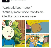 "<p>#AardvarkLivesMatter (via /r/BlackPeopleTwitter)</p>: ""Aardvark lives matter""  ""Actually more white rabbits are  killed by police every yea- <p>#AardvarkLivesMatter (via /r/BlackPeopleTwitter)</p>"