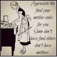 memes: AAreciate the  food your  mother cooks  or you  have food others  don't have  mothers.