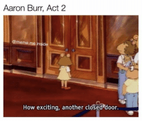 Memes, 🤖, and Act: Aaron Burr, Act 2  @meme me inside  How exciting, another closed door. I want to be in the room where it happens!!!