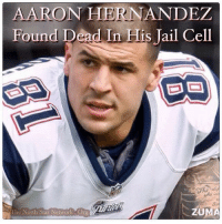 "WEDNESDAY, APRIL 19, 2017 8:36PM - TNSN - Aaron Hernandez, the former New England Patriots tight end who was serving a life sentence for murder, was found dead early Wednesday of an apparent suicide inside his prison cell, a Massachusetts correction official said. Correction officers discovered Hernandez hanging by a bed sheet attached to his single cell window at about 3:05 a.m., said state Department of Correction spokesman Christopher M. Fallon. Hernandez, 27, had attempted to ""block his door from the inside by jamming the door with various items,"" Fallon said in a statement. Officers attempted life-saving techniques and transported him from the Souza-Baranowski Correctional Center in Shirley to a local hospital, but he was declared dead about an hour later. Hernandez was not on suicide watch and there was no reason to believe he was planning to take his own life, Fallon told The Associated Press, adding that they would have moved him to a mental health unit if that were the case. Hernandez's lawyer, Jose Baez, said there had been no correspondence with his family to indicate he was considering ending his life. Hernandez was still appealing his murder conviction in state court. ""Aaron was looking forward to an opportunity for a second chance to prove his innocence,"" Baez said in a statement. ""Those who love and care about him are heartbroken and determined to find the truth surrounding his untimely death."" Hernandez's unexpected death followed his acquittal last Friday of a 2012 fatal drive-by shooting in Boston. Prosecutors alleged he opened fire at a red light after one of them spilled a drink on him at a club and he became enraged. He was charged in 2014 for the double slaying. After six days of deliberations in which defense attorneys argued that a former friend of Hernandez's was the triggerman, a jury acquitted the ex-football star of the murder-related charges. But Hernandez was convicted of a single charge of unlawful carrying of a .38-caliber revolver, for which the judge sentenced him to another four to five years in prison.: AARON HERNANDEZ  Found Dead In His Jail Cell  ZUMA  The North Star Network Org WEDNESDAY, APRIL 19, 2017 8:36PM - TNSN - Aaron Hernandez, the former New England Patriots tight end who was serving a life sentence for murder, was found dead early Wednesday of an apparent suicide inside his prison cell, a Massachusetts correction official said. Correction officers discovered Hernandez hanging by a bed sheet attached to his single cell window at about 3:05 a.m., said state Department of Correction spokesman Christopher M. Fallon. Hernandez, 27, had attempted to ""block his door from the inside by jamming the door with various items,"" Fallon said in a statement. Officers attempted life-saving techniques and transported him from the Souza-Baranowski Correctional Center in Shirley to a local hospital, but he was declared dead about an hour later. Hernandez was not on suicide watch and there was no reason to believe he was planning to take his own life, Fallon told The Associated Press, adding that they would have moved him to a mental health unit if that were the case. Hernandez's lawyer, Jose Baez, said there had been no correspondence with his family to indicate he was considering ending his life. Hernandez was still appealing his murder conviction in state court. ""Aaron was looking forward to an opportunity for a second chance to prove his innocence,"" Baez said in a statement. ""Those who love and care about him are heartbroken and determined to find the truth surrounding his untimely death."" Hernandez's unexpected death followed his acquittal last Friday of a 2012 fatal drive-by shooting in Boston. Prosecutors alleged he opened fire at a red light after one of them spilled a drink on him at a club and he became enraged. He was charged in 2014 for the double slaying. After six days of deliberations in which defense attorneys argued that a former friend of Hernandez's was the triggerman, a jury acquitted the ex-football star of the murder-related charges. But Hernandez was convicted of a single charge of unlawful carrying of a .38-caliber revolver, for which the judge sentenced him to another four to five years in prison."
