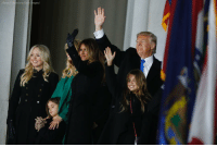 Donald Trump's family waved to the massive crowd at the 'Make America Great Again! Welcome Celebration' concert, celebrating the president-elect's inauguration.: Aaron P Banstein/Ge Donald Trump's family waved to the massive crowd at the 'Make America Great Again! Welcome Celebration' concert, celebrating the president-elect's inauguration.
