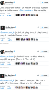 """Love, Netflix, and Shit: Aaron Paul  @aaronpaul 8  Follow  Just watched """"What"""" on Netflix and was floored  by the brilliance of @boburnham. Remarkable  RETWEETS  LIKES  2,7176,868  witter: aaronpaul8  Bo Burnham  Follow  aaronpaul_8 (holy fuck play it cool, play it cool,  play it cool) oh thanks, man.  LIKES  1,611 4,978  witter: @boburnham  Aaron Paul  aaronpaul 8  -Follow  @boburnham (holy shit I have no idea what to  say.) I love you. (Damn it. You idiot.)  RETWEETS  IKES  1,609 4,664  witter: aaronpaul8  Bo Burnham  Follow  @aaronpaul_8 (He doesn't love you. He has a  wife. End this now.) 1 love you too. (Fuck!)  RETWEETS  IKES"""