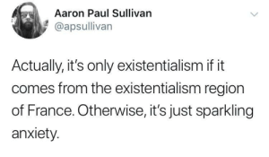 Sparkling Anxiety then: Aaron Paul Sullivan  @apsullivan  Actually, it's only existentialism if it  comes from the existentialism region  of France. Otherwise, it's just sparkling  anxiety. Sparkling Anxiety then