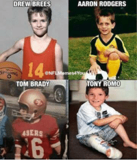 Aaron Rodgers, Memes, and Tony Romo: AARON RODGERS  DREW BREES  CONFLMemes4You  TONY ROMO  TOM BRADY  49ERS NFL Qbs as kids!