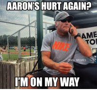 Moments after Aaron Rodgers going down... https://t.co/ejLun2K7dz: AARON'S HURT AGAIN?  AME  TOR  NIKE  @NFL MEMES  I'M ON MY WAY Moments after Aaron Rodgers going down... https://t.co/ejLun2K7dz