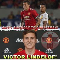 Adidas, Birthday, and Football: aas  as  HE  adidasS  adidaS  VICTOR LINDELOF! Happy 23rd Birthday, @victorlindelof ❤️ . . . . . . manutd mufc manchesterunited degea united neymar footy football soccer rooney sfs s4s like selfie followback followme followforfollow likeforlike goals zlatan pogba mata cr7 nike adidas messi ibrahimovic Ronaldo lol