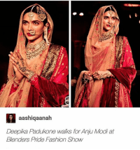 she did THAT !!: aashiqaanah  Deepika Padukone walks for Anju Modi at  Blenders Pride Fashion Show she did THAT !!