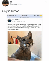 😂Tuna might not be the only thing on the menu: ab  @ayaaanaiss  Only in Tucson  l T-Mobile LTE  11:59 AM  a facebook.com  Joe Saldivar  13 hrs Tucson, AZ  FOUND: Cat was under my car this morning. Ate 3 big  cans of tuna. Was very muddy so I gave him a bath. If  you know of anyone who is missing a Tabby (?) EAST  SIDE Tucson area. 😂Tuna might not be the only thing on the menu