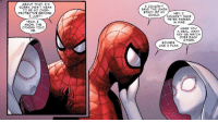 Wholesome Spider-Man comic: AB UT THAT, I'm  SORRY, DIDN'T MEAN  TO BE SO OVER-  I COULDN'T  SAVE THE GWEN  STACY OF MY  PROTECTIVE BEFORE  HEY, I  JUST--  WORLD.COULDN'T SAVE  PETER PARKER  IN MINE.  YEAH. I  KNOW. THE  OTHERS TOLD  ME  MAKE YOU  A DEAL, WHAT  SAY WE WATCH  OVER EACH  OTHER  SOUNDS  LIKE A PLAN. Wholesome Spider-Man comic