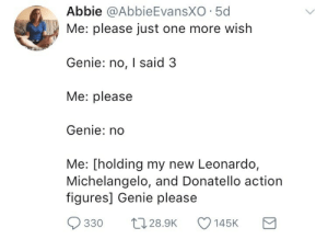 Meirl by Scaulbylausis FOLLOW HERE 4 MORE MEMES.: Abbie @AbbieEvansXO 5d  Me: please just one more wish  Genie: no, I said;3  Me: please  Genie: no  Me: [holding my new Leonardo,  Michelangelo, and Donatello action  figures] Genie please  330 028.9 145K Meirl by Scaulbylausis FOLLOW HERE 4 MORE MEMES.