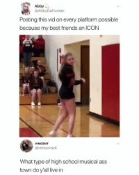 Ass, Friends, and High School Musical: Abby  @AbbyDaHuman  Posting this vid on every platform possible  because my best friends an ICON  VINCENT  @vinnycrack  What type of high school musical ass  town do y'all live in Following @PabloPiqasso will make you a happier person (via-twitter-abbydahuman)