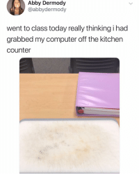 Memes, Computer, and Today: Abby Dermody  @abbydermody  went to class today really thinking i had  grabbed my computer off the kitchen  counter Something i would do 😩