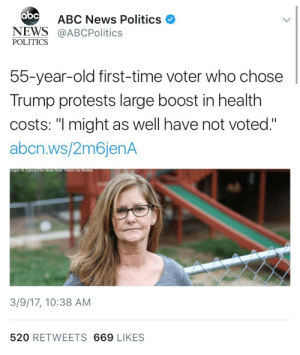 """weavemama:  trump supporters across the U.S: : abc  ABC News Politics  NEWS@ABCPolitics  POLITICS  55-year-old first-time voter who chose  Trump protests large boost in health  costs: """"I might as well have not voted.""""  abcn.ws/2m6jenA  3/9/17, 10:38 AM  520 RETWEETS 669 LIKES weavemama:  trump supporters across the U.S:"""