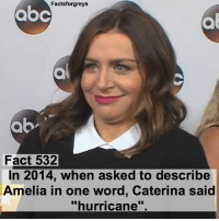 "Memes, Hurricane, and 🤖: abc  Factsforgreys  Fact 532  In 2014, when asked to describe  Amelia in one word, Caterina said  ""hurricane Fact 532😱 In 2014, when asked to describe Amelia in one word, Caterina said ""hurricane"". — factsforgreys_caterina greys greysanatomy caterinascorsone ameliashepherd omelia privatepractice pp shondaland abc ga tgit like facts like4like likeforlike dancemoms"