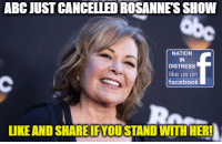 Abc, Facebook, and Memes: ABC JUST CANCELLED ROSANNE'S SHOW  NATION  IN  DISTRESS  like us on  facebook  IKE AND SHARE FYOUSTAND WIITIHER! SPREAD THIS EVERYWHERE PATRIOTS!  Nation In Distress