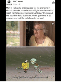 """Abc, Fire, and Grandma: ABC News  abc  NEWS 5 hrs  Man in Nebraska orders pizza for his grandma in  Florida to make sure she was alright after he couldn't  reach her following Hurricane Matthew. """"Police and  fire couldn't do it, but Papa John's got there in 30  minutes and put the cellphone to her ear.""""  umok.com"""
