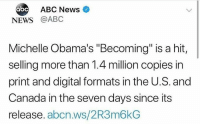 "Congratulations to #MichelleObama 👏🙌 #WSHH: ABC News  NEWS @ABC  Michelle Obama's ""Becoming"" is a hit,  selling more than 1.4 million copies in  print and digital formats in the U.S. and  Canada in the seven days since its  release. abcn.ws/2R3m6kG Congratulations to #MichelleObama 👏🙌 #WSHH"
