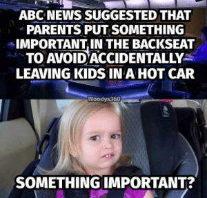 Abc, Dank, and Memes: ABC NEWS SUGGESTED THAT  PARENTS PUT SOMETHING  IMPORTANT IN THE BACKSEAT  TO AVOID ACCIDENTALLY  LEAVING KIDS IN A HOT CAR  Woodys360  SOMETHING IMPORTANT? if only i had something important by smellslikesneakers FOLLOW HERE 4 MORE MEMES.