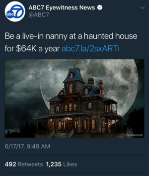 Abc, News, and Target: ABC7 Eyewitness News .  abc  Be a live-in nanny at a haunted house  for $64K a year abc7.la/2sxART  Shutterstock  6/17/17, 9:49 AM  492 Retweets 1,235 Likes assbuttofasgard:  assbuttofasgard: See me cracking a cold one with the ghosts