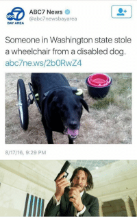Abc, Funny, and News: ABC7 News  @abc7 bayarea  abC  BAY AREA  Someone in Washington state stole  a wheelchair from a disableddog  abc7ne.ws/2bORWZ4  8/17/16, 9:29 PM https://t.co/5jHdHHo7Vv