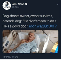 """Abc, News, and Good: abcABC News  NEWS  @ABC  Dog shoots owner, owner survives,  defends dog: """"He didn't mean to do it  He's a good dog."""" abcn.ws/2QcDXF7  11/2/18, 14:00"""