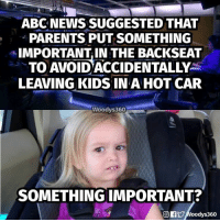America, Parents, and Kids: ABCNEWS SUGGESTED THAT  PARENTS PUT SOMETHING  IMPORTANT IN THE BACKSEAT  TO AVOID ACCIDENTALLY  LEAVING KIDS IN A HOT CAR  Woodvs360  SOMETHING IMPORTANT? 👍 If you support and defend our constitutional rights, join our Newsletter 🇺🇸 ➤ www.UncleSamsMisguidedChildren.com   — Products shown: TRUMP SNOWFLAKE REMOVAL T-Shirt and HOW ABOUT ROOTING FOR AMERICA T-Shirt.