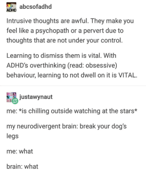 Dogs, Control, and Adhd: abcsofadhd  ADHD  Intrusive thoughts are awful. They make you  feel like a psychopath or a pervert due to  thoughts that are not under your control.  Learning to dismiss them is vital. With  ADHD's overthinking (read: obsessive)  behaviour, learning to not dwell on it is VITAL.  justawynaut  me: *is chilling outside watching at the stars*  my neurodivergent brain: break your dog's  legs  me: what  brain: what Begone, thought!