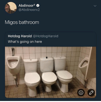 Memes, Migos, and Wshh: Abdinoor2 0  @Abdinoorx2  Migos bathroom  Hotdog Harold @HotdogHarold  What's going on here The Migos bathroom 😂🚽 WSHH
