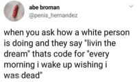 "Memes, Penis, and White: abe broman  @penis_hernandez  when you ask how a white person  is doing and they say ""livin the  dream"" thats code for ""every  morning i wake up wishing i  was dead"""